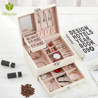 Jewelry Organizer Display Travel Jewelry Case Boxes Portable Earings Ring Necklace Bracelet Leather Storage Joyeros with lock