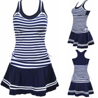 2016 Women School Sporty Style Swimwear Navy Stripes Print Tankinis Two Pieces Dress Swimsuits Plus Size
