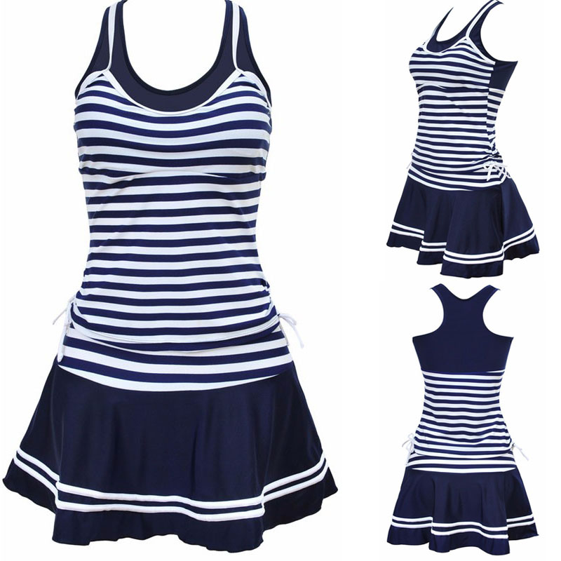 2016 Women School Sporty Style Swimwear Navy stripes Print Tankinis Two Pieces Dress Swimsuits Plus Size M~3XL