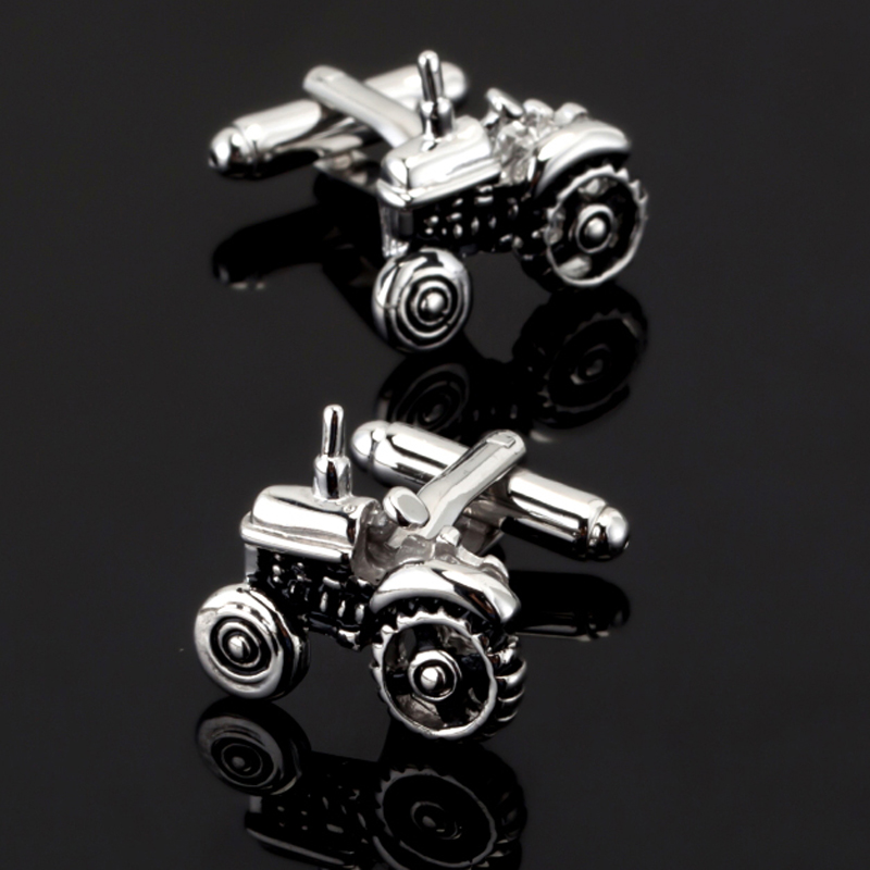 XKZM Men Jewellery Tractor Cufflinks Wholesale&retail Silver Color Copper Farm Vehicle Design Best Gift For Men