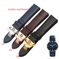 FOR ar dark blue leather watchband Rosegold butterfly Clasp deployment 20mm 22mm for quartz watches smooth cowhide leather new