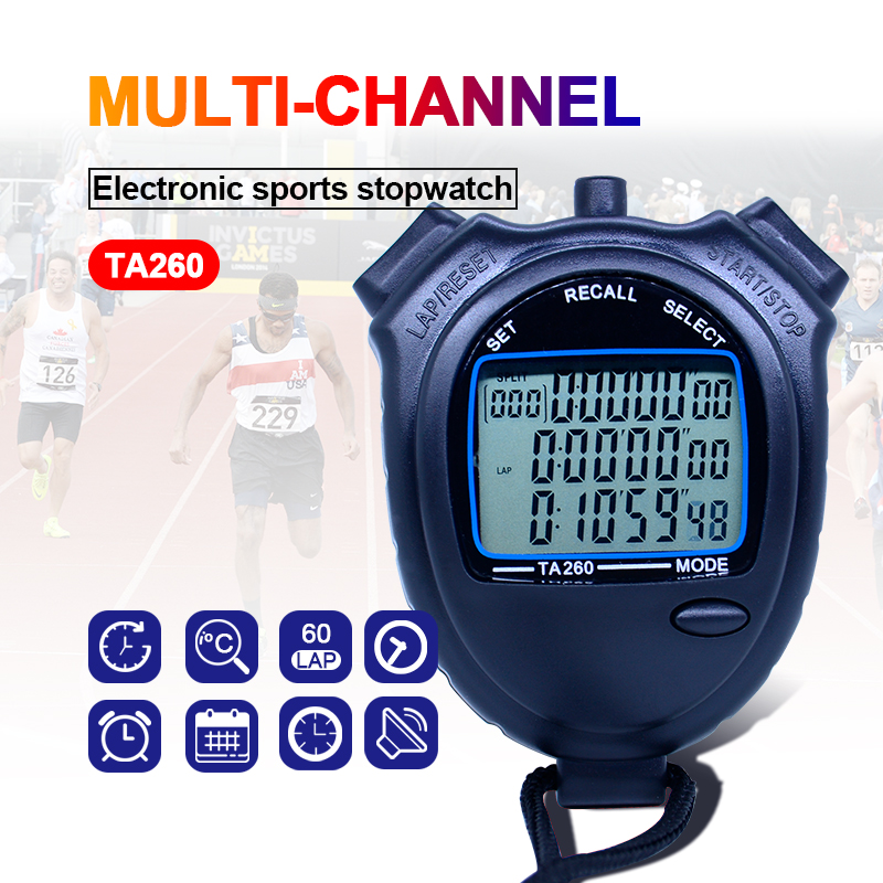Sports stopwatch 3 rows of 60 channels Athletics Stopwatch Student Coaches Electronic Table TA260