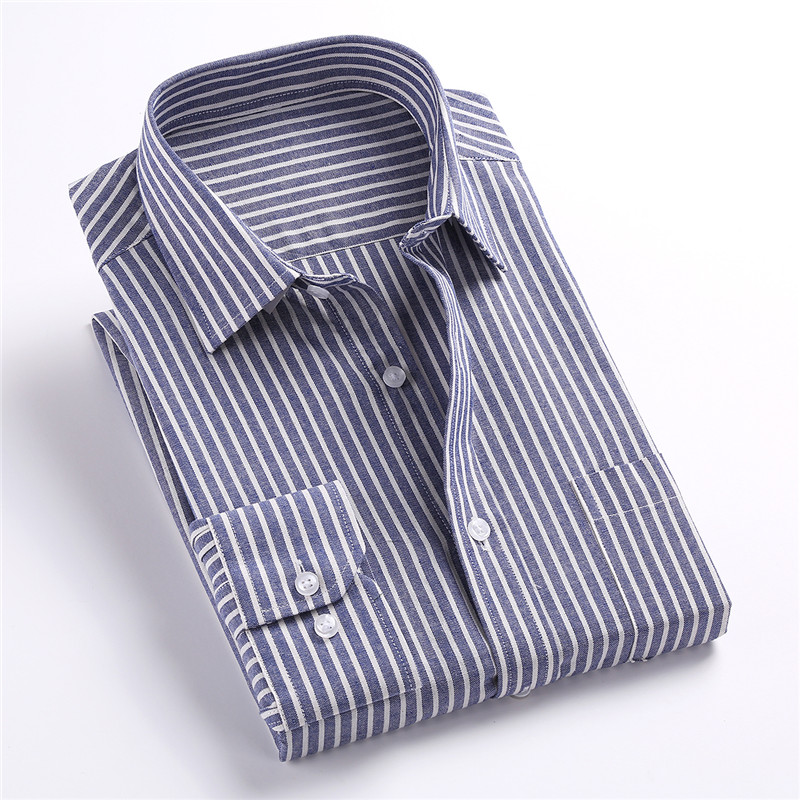Jeetoo Cotton Striped Mens Shirt Blouses Casual Long Sleeve Oxford Dress Shirt Fashion Slim Fit Plus Size 3XL Camisas Hombres