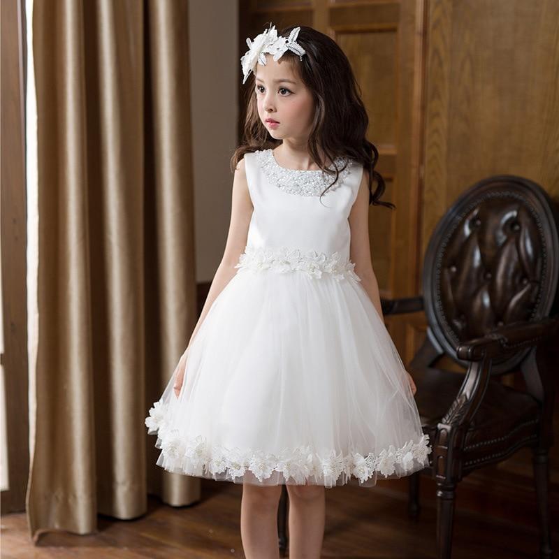 ФОТО YNB 3Y-16Y Kids White Princess Dresses Brand Flower Girl Dress 2017  Children Sleeveless Ball Gown Birthday Dress Formal Clothes