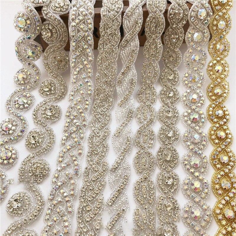 Handmade Silver/Gold 1 Yard Bridal Crystal Trim Rhinestone Applique For Wedding Dress Belts Headpieces