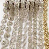Applique en strass à la main en argent/or 1 Yard avec garniture en cristal pour robe de mariée