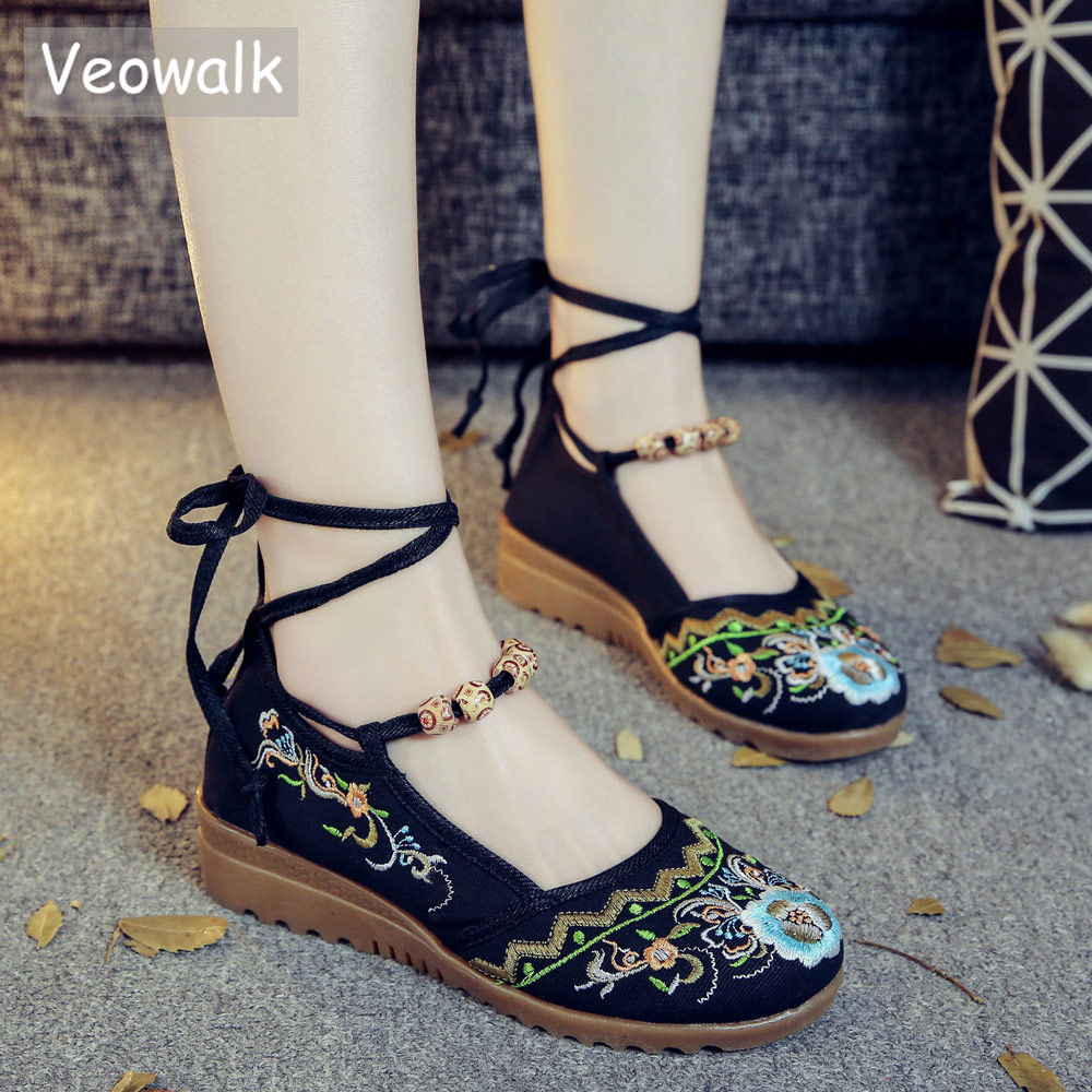 Veowalk Beaded String Women Canvas Embroidered Flat Platforms Ankle Lace up Ladies Casual Cotton Fabric Shoes chaussures femme veowalk hidden platforms women casual canvas embroidered sneakers mid top lace up ladies comfort denim cotton travel shoes