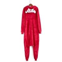 Eur Size S-XL Hooded & Footed Pyjama Vrouwen Winter Volwassen Warm Rood Cartoon Flanel Onesies Party Pyjama/Jumpsuit