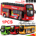 Children toy bus 1:32 SCALE sightseeing buses Coach buses model with Light music pull back alloy model bus 1pcs