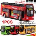 Juguete de los niños bus 1:32 escala de turismo autobuses autobuses modelo con música ligera tira de la aleación modelo de autobús 1 unids