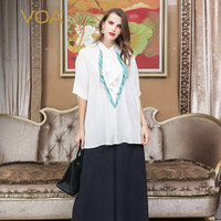 VOA Oversized Women Tops Heavy Silk Blouse Plus Size 5XL Loose Ruffle White Office Bat Half Sleeve Long Pullover Summer B311