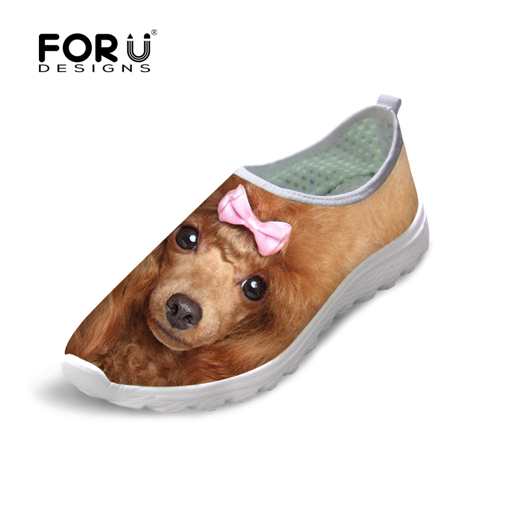 FORUDESIGNS Fashion Summer Women Light Slip on Mesh Shoes Breathbale Cute 3D Animals Dog Cat Flats Shoes Female Beach Walk Shoe forudesigns cartoon shark print women flats shoes sneakers casual women s summer mesh shoes beach girls loafers slip on zapatos