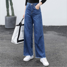 2019 New Full Cotton Women High Waist Jeans Bleached With Scratched Pants Top Quality length Softener Loose Wide Leg Casual