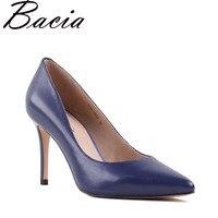 Bacia Sheep Skin High Heels Genuine Leather Elegant Pumps Women Royal Blue Shoe 8.3cm Thin Heel Pointed Toe Size 33 41 NEW SA021