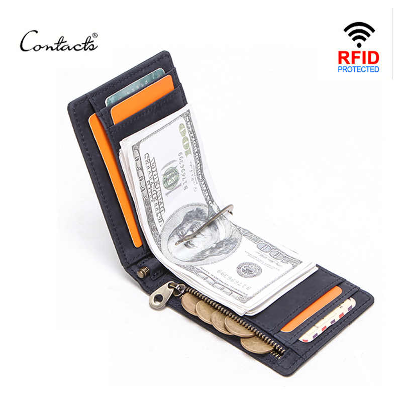 CONTACT'S men RFID Genuine Leather Money Clip Card Wallet Crazy Horse Thin Bifold cash clamp cash holder male Slim RFID Purse