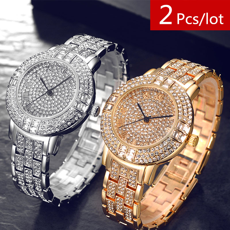 2Pcs/lot Silver Women Top Brand Luxury Ladies Rhinstone Dress Watches Crystal Bracelet Watch Quartz Wristwatch Girls Clock 30