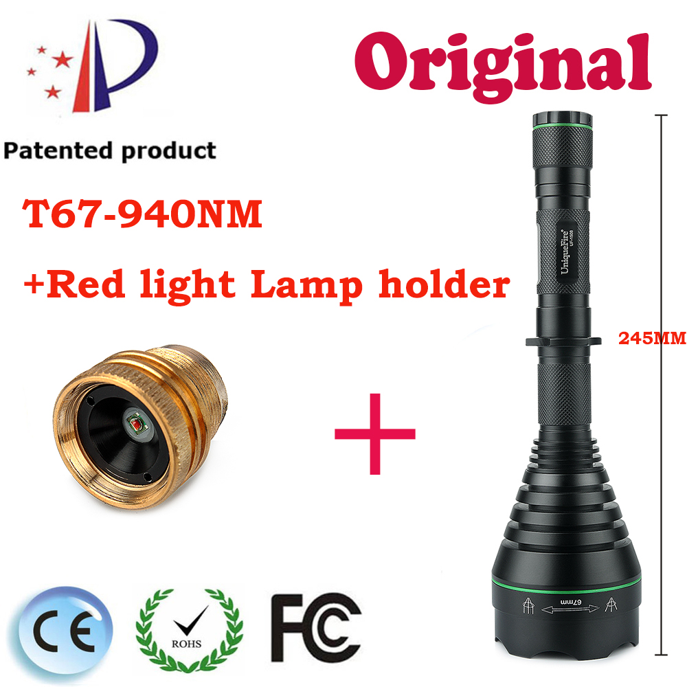 UniqueFire Tactical Flashlight UF-1508 T67 IR940NM Zoom Function Perfect Sopt Light for Hunting+XRE Red Light Lamp Holder 3 Mode uniquefire t67 powerful flashlight uf 1504 cree xre led 3 modes 300 lumens green red white light waterproof lamp torch charger
