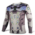 Mens Casual OW Genji Heros Cosplay Full Sleeve Slim O-Neck Printing Polyester T-Shirt Tee Shirts Tops
