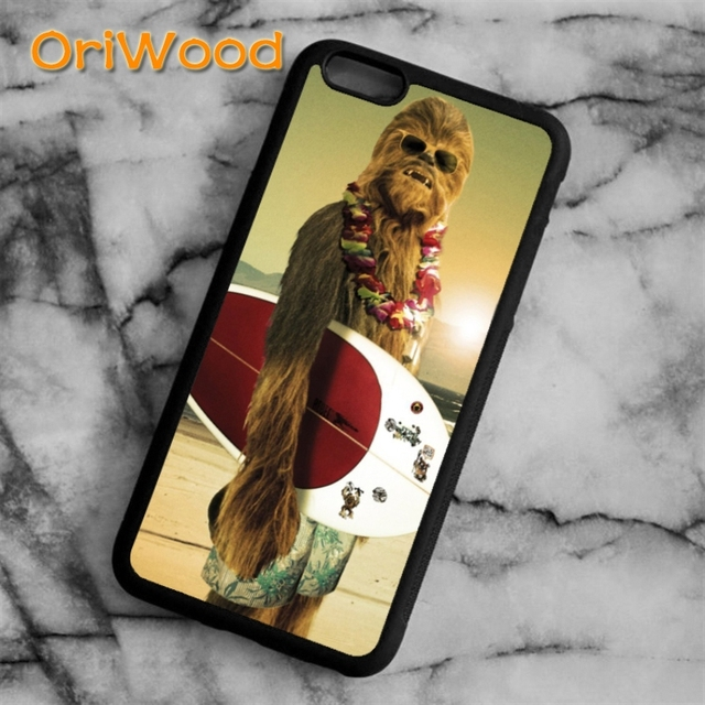 best sneakers 01fd5 1375b US $4.99 |OriWood Star Wars Chewbacca Funny Surfing Case cover For iPhone 6  6S 7 8 Plus X 5 5S SE Samsung galaxy S5 S6 S7 edge S8 Plus-in Fitted Cases  ...