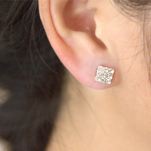 Shiny Square rhinestone magnet magnetic clip on earrings womens mens without pierced ear clip earrings.jpg 640x640 - Shiny Square rhinestone magnet magnetic clip on earrings womens mens without pierced ear clip earrings