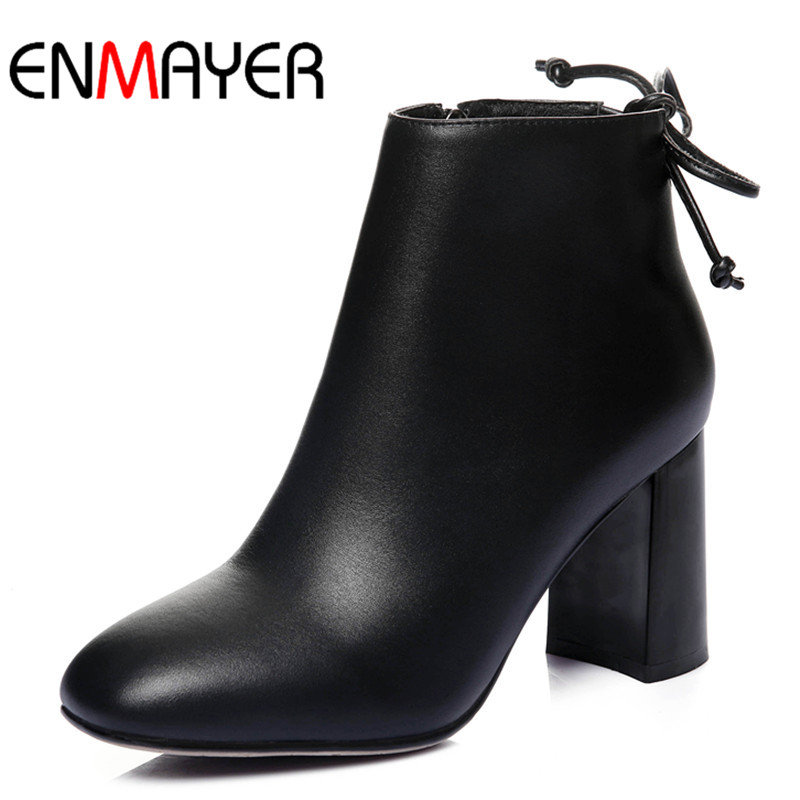 ФОТО ENMAYER New Fashion High Heel Cow Leather Solid Round Toe Spring&Autumn Boots  Ankle Boots Soft Leather for Women High Boots