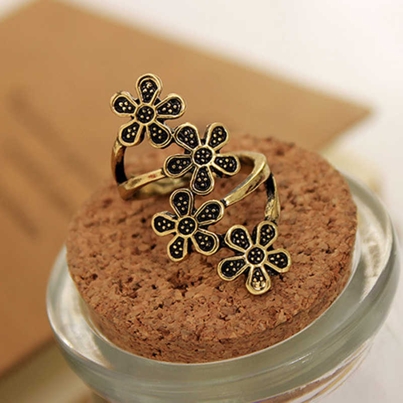 4 Little Plum Blossom 5 Leaves Vintage Ethnic Style Antique Coppery Silver Rings For  Women