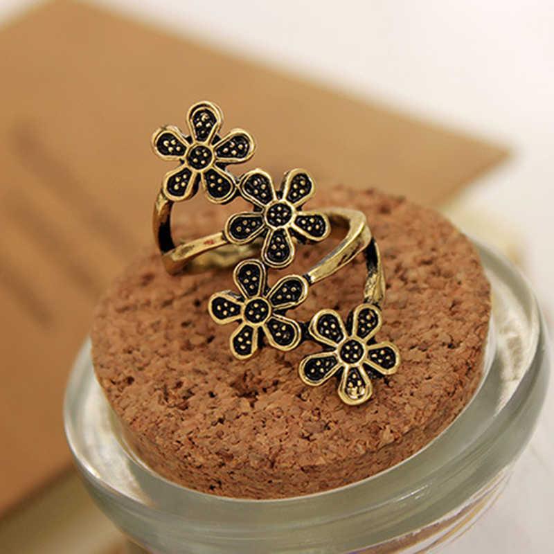 4 pequeno Da Flor Da Ameixa 5 Folhas Do Vintage Estilo Étnico Antigo Cobre Anéis de Prata Para As Mulheres