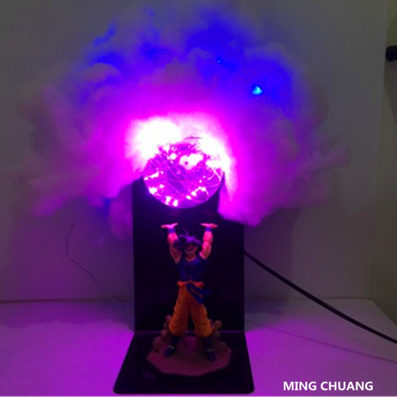 Anime Dragon Ball Z Super Saiyan Son Goku With LED Light Table Lamp PVC Action Figure Collectible Model Toy D453 1pc lot chocolate goku anime dragon ball z figure super saiyan pvc action figures brinquedos collectible model kids toys 29cm