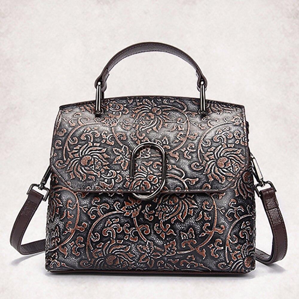 ФОТО New Genuine Leather Women Handbag Famous Designer Brand Female Shoulder Crossbody Bag Luxury Embossed Messenger Bags Retro Tote