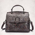 New Genuine Leather Women Handbag Famous Designer Brand Female Shoulder Crossbody Bag Luxury Embossed Messenger Bags Retro Tote