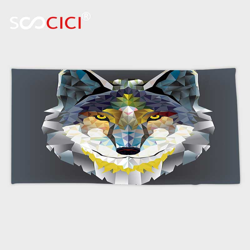 Custom Microfiber Ultra Soft Bath/hand Towel,Colorful Zoo Decorations Artistic Graphic Design Coyote Wolf Beast