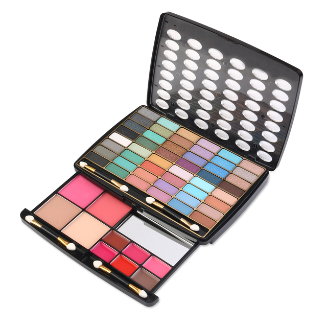 RUIMIO Makeup Palette 48 Eyeshadow & 2 Blusher & 2 Powder Cake & 6 Lip Gloss & 4 Double-Sided Sponge Brush Cosmetic KitsTools