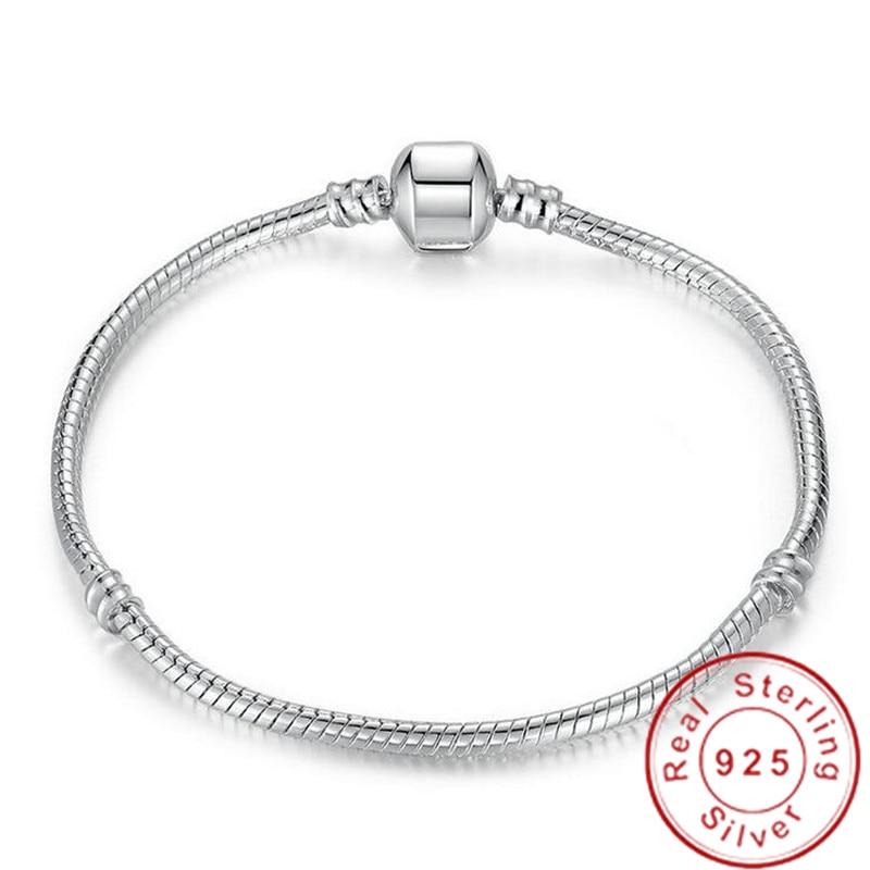 BIG SALE Charming Original 925 Sterling Silver Snake Chain Bangle & Bracelet Luxury Jewelry 16-23CM Bracelet For Women Gift