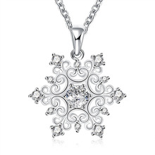 2016 new top quality Silver Plated & Stamped 925 half solid drop crystal stone women necklace pendant jewelry trendy