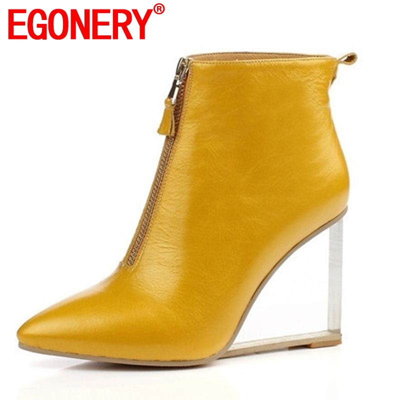 EGONERY party sexy woman shoes large size 33 41 ankle boots heel 9cm pointed toe crystal