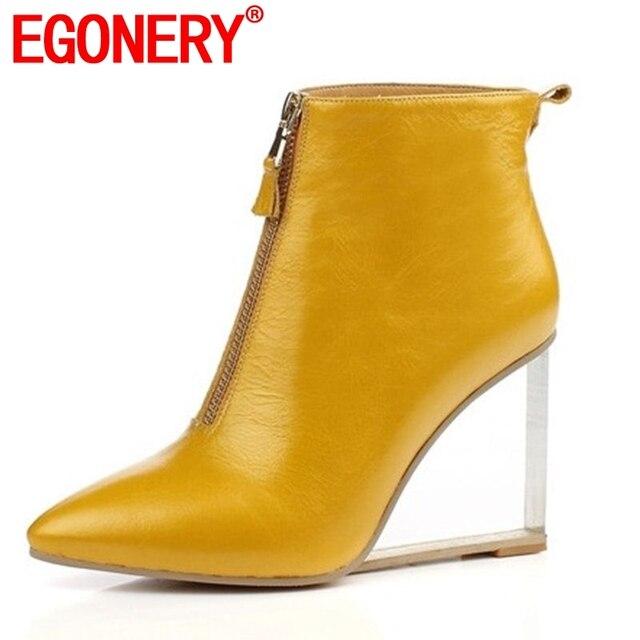 EGONERY del partito sexy scarpe da donna di grandi dimensioni 33-41 della caviglia stivali tacco 9 centimetri di cristallo punta a punta tacco a cavallo stivali zapatos mujer
