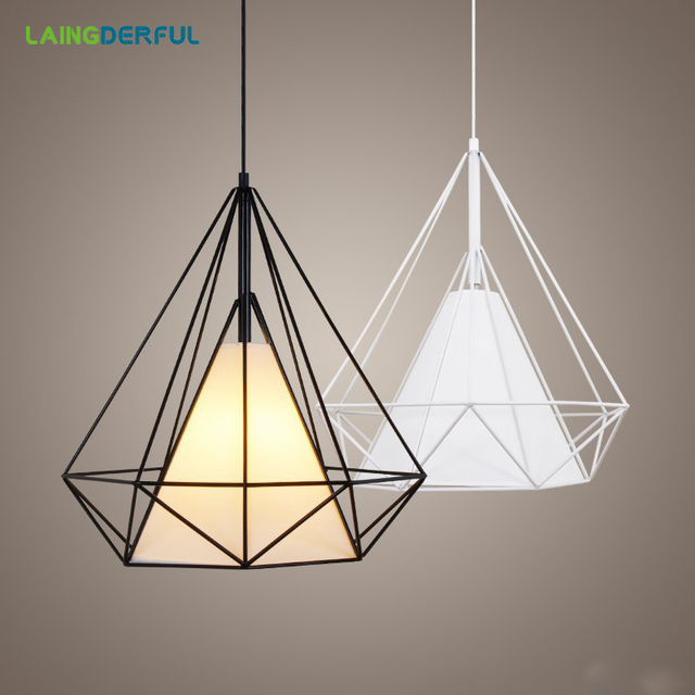 LAINGDERFUL Nordic Iron Pendant Light Cage Industrial Guard Cover Diy Retro Lampshade Classic Black Bulb Pendant Lamp