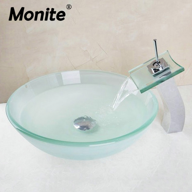 Tall Waterfall Basin Tap+Bathroom Sink Washbasin Glass Hand-Painted 40678221A Lavatory Bath Combine Brass Set Faucet,Mixer Tap free shipping wine glass shape grilled white painted tall bathroom waterfall faucet fancy style white basin sink mixer tap w004