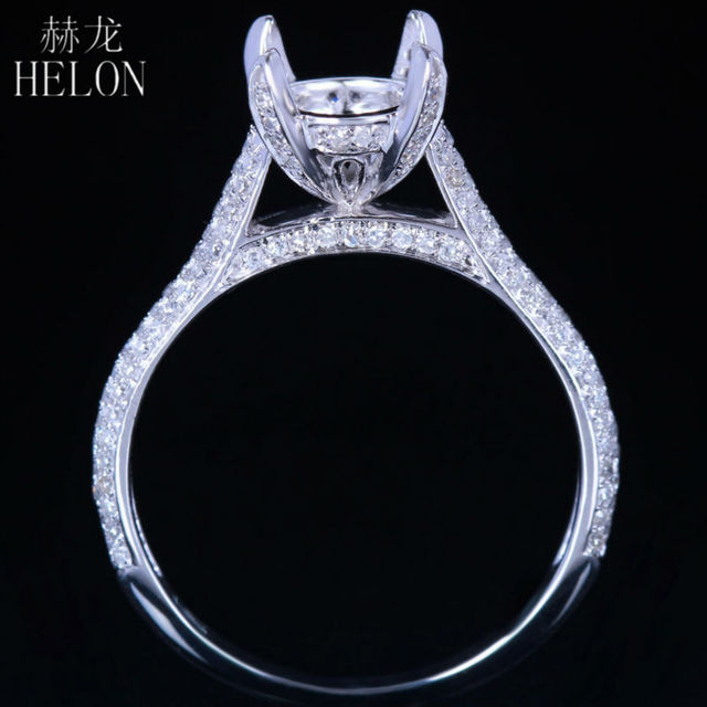 HELON 8mm Round 0.4ct Diamonds Fashion Jewelry Women's Ring Solid 14K/585 White Gold Semi Mount Engagement Wedding Fine Ring