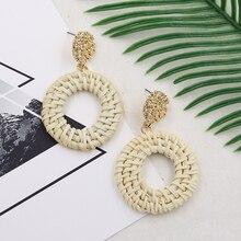 Wicker Drop Earrings for Women Natural Straw Rattan Earring Gold Color Woven Wooden beach jewelry Aretes De Mujer 2019
