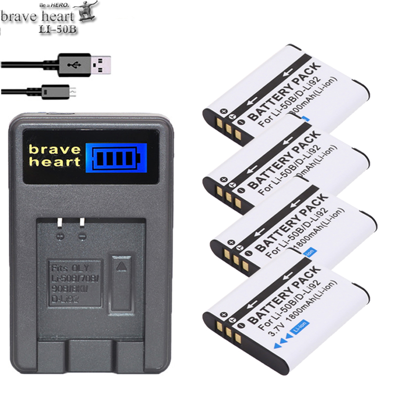 4x Bateria Li 50b Li-50b Battery + Lcd Usb Charger For Olympus Stylus 1020 1030 8000 U-1010 U-1020 Pentax Optio I-10 X70 Camera Orders Are Welcome.