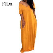 FUDA Women Clothing with Pockets Short Sleeve Long Maxi Dress Summer Casual Loose Elegant Vestidos De Festa Plus Size XXXL