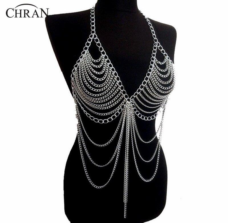 Женские длинные ожерелья-цепочки Chran, длинные ожерелья и подвески из сплава, эффектные Украшения для тела, BC0395