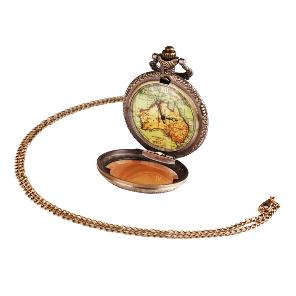 Bronze Antique Vintage Map Pattern Pendant Necklace Quartz Watch Steampunk Pocket Watch Death Note Relogio De Bolso Women Gifts antique retro bronze car truck pattern quartz pocket watch necklace pendant gift with chain for men and women gift