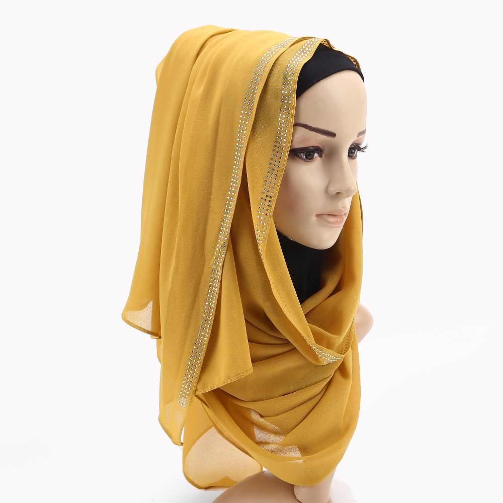 Женский простой пузырьковый шифоновый шарф обертывание блестящая цепочка с чашками со стразами платочная повязка на голову мусульманские хиджабы шарфы/шарф