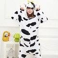 2016 Outono e Inverno Pijama de Flanela animais Dos Desenhos Animados Bonito Da Vaca para As Mulheres adulto com capuz conjuntos de Pijama