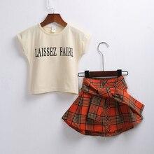 New Arriving Girl  Clothing Children Summer Clothes Cartoon Kids Set T-shit+British Style Waist skirt