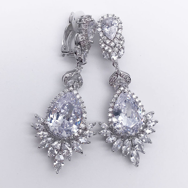 Elegant Evening Dinner Earring Clip Part Wedding Jewelry Long Cz Crystal Ear Drop