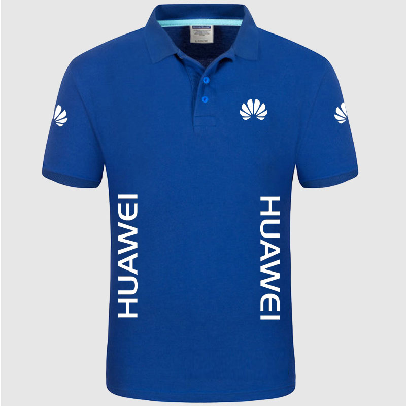 Summer High quality brand HUAWEI logo   polo   short sleeve shirt Fashion casual Solid   Polo   Shirt unisex shirts