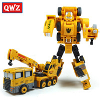 QWZ Crane Truck Engineering Transformation Robot Car Deformation Toy 2 In 1 Metal Alloy Construction Vehicle